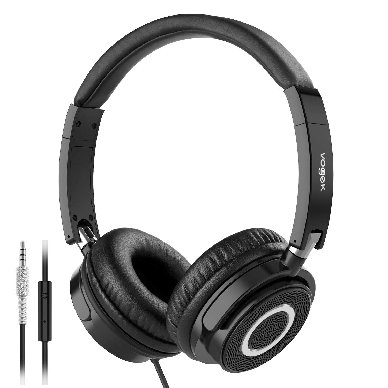 On Ear Headphones with Mic,Lightweight Portable Fold-Flat Stereo Bass Headphones with 1.5M Ta